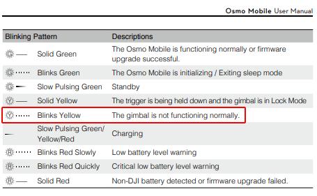Osmo Mobile-Blinking Yellow Light issue   DJI FORUM